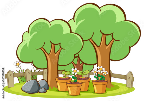 Papiers peints Jeunes enfants Flowers and tree on white background