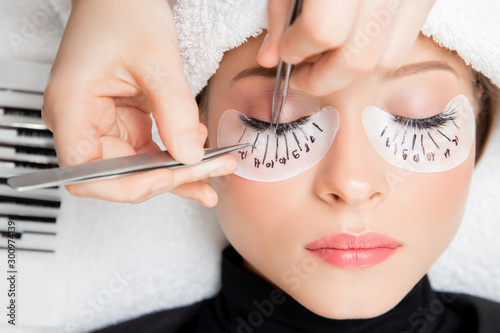 Fototapeta Eyelash extension procedure