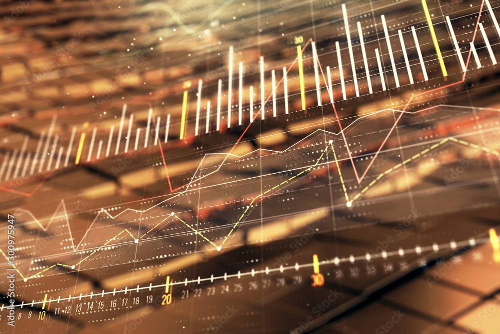 Fototapety, obrazy: Financial chart hologram with abstract background. Double exposure. Concept of market analysis