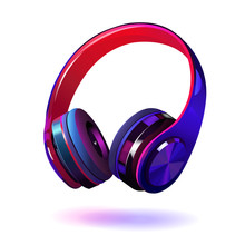 Black And Purple Headphones Isolated On White Background, Realistic Vector Illustration.