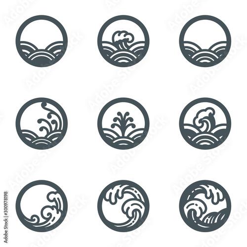 Cuadros en Lienzo  Water wave icon set