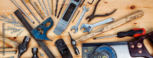 Papel de parede DIY woodwork tools - panorama / banner for working, making stuff, & home improvement concepts