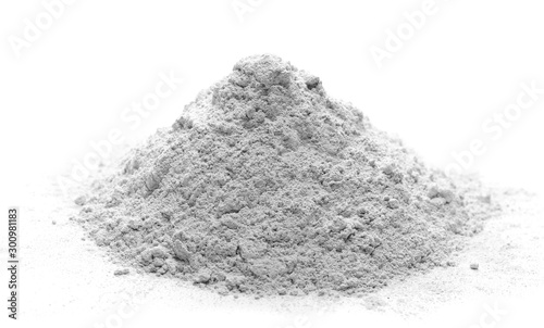Fototapeta Pile of cement powder isolated on white background obraz