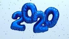 2020 New Year 3d Rendering Illustration. Blue Metallic Foil Numbers Lettering Flying In The Air. Clean Backdrop With Space For Text.