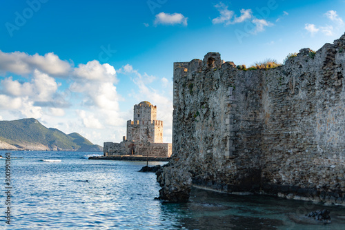 Poster Kust Old venetian fortress in small greek town Methoni on Peloponnese
