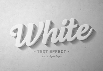 Fototapeta na wymiar White 3D Text Effect