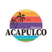 Acapulco Mexico - Round Vector Icon, Emblem Design On A White Background
