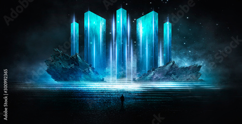 Abstraction, futuristic city of concrete and neon. Night city view, stairs up, illumination. Dark street, abstract scene, neon rays. - 300992365