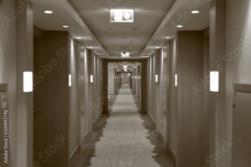 Fotomural  Long corridor with rooms at the Marriott Krasnaya Polyana Hotel, Sochi, Russia
