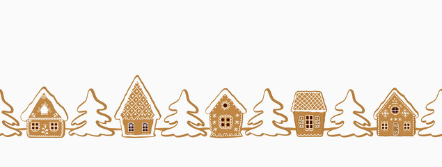 Gingerbread village. Christmas background. Seamless border. There are gingerbread houses and fir trees on a white background. Greeting card template. Vector illustration