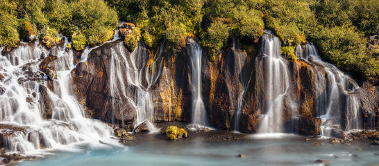 View of Colorful Hraunfossar Waterfall, Iceland