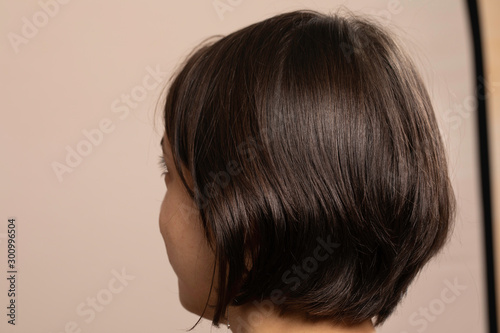 Canvas Woman with bob haircut back view