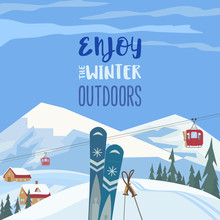 Enjoy Winter Outdoors Retro St...