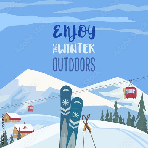 Enjoy winter outdoors retro style vector poster Tapéta, Fotótapéta