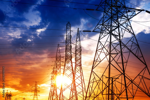 High voltage post or High voltage tower Wallpaper Mural