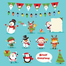 Collection Of Christmas Characters With  Design Elements