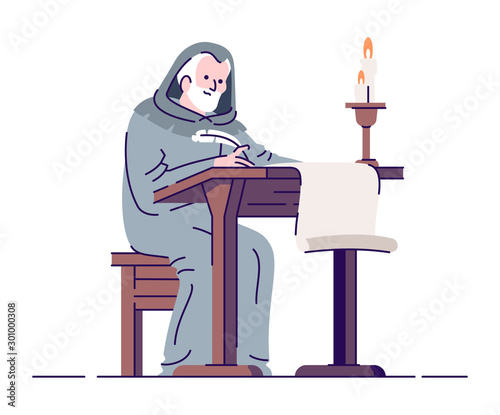 Photo Medieval chronicler with manuscript flat vector illustration