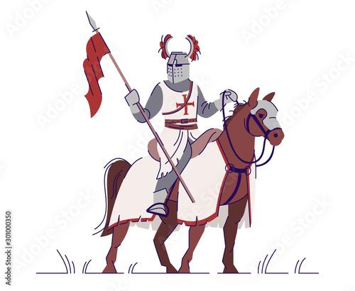 Fotografie, Obraz Medieval knight horseman in armor flat vector illustration
