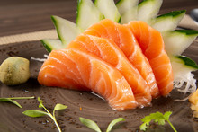 Salmon Sashimi With Green Deco...