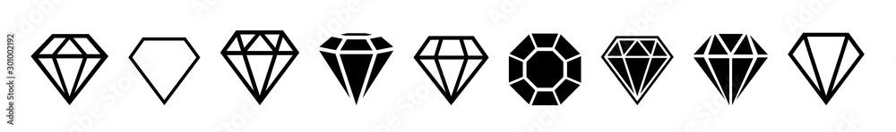 Fototapeta A set of diamonds in a flat style
