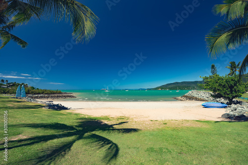 Australia Airlie Beach paradise waterfront with turquoise sea Canvas Print