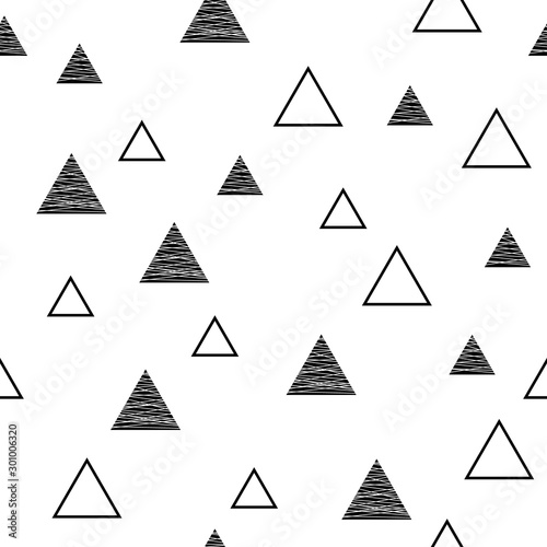 Vector seamless geometric pattern in scandinavian style with triangles Tableau sur Toile