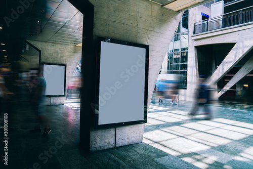 Fotomural Clear Billboard in public place with blank copy space screen for advertising or