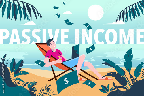Fototapeta Passive income - young man earning money while on vacation, enjoying life, laptop in lap, raining money, beach, holiday, rich, wealthy, lucky, earnings, salary, work from home, vector illustration obraz