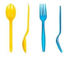 Disposable Kitchen Utensil, Plastic Fork And Spoon, Set And Collection.