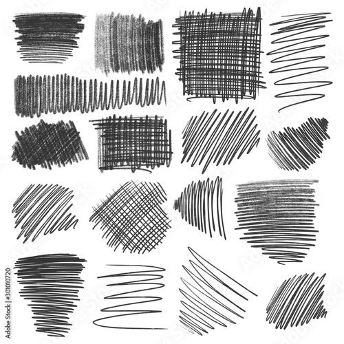 Fototapeta Pencil strokes set, different scribbles isolated on white. obraz na płótnie