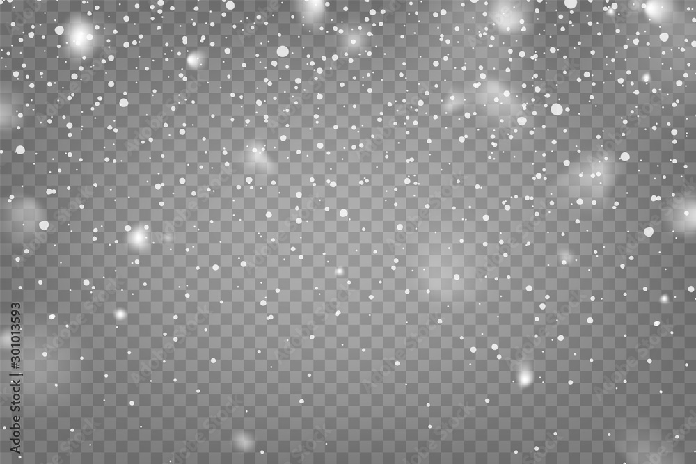 Fototapety, obrazy: Realistic falling snow with snowflakes and clouds. Winter transparent background for Christmas or New Year card. Frost storm effect, snowfall, ice. Vector illustration.