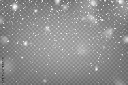 Realistic falling snow with snowflakes and clouds. Winter transparent background for Christmas or New Year card. Frost storm effect, snowfall, ice. Vector illustration.