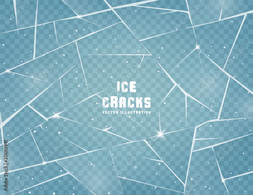 Realistic cracked ice surface. Frozen glass with cracks and scratches. Vector illustration. Wall mural