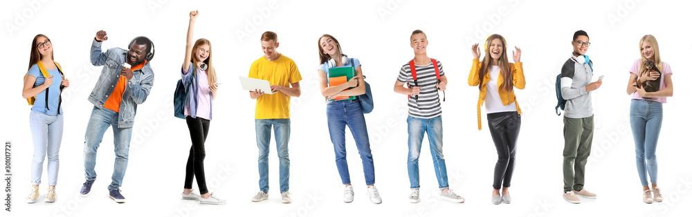 Fototapeta Group of happy teenagers on white background