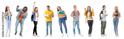Photo Group of happy teenagers on white background