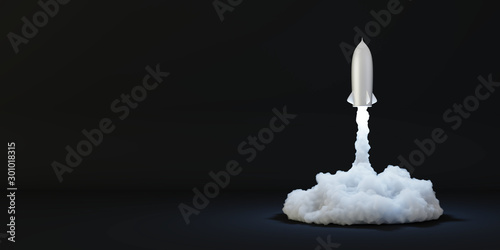 Rockets being launched, success and growth concepts, original 3d rendering