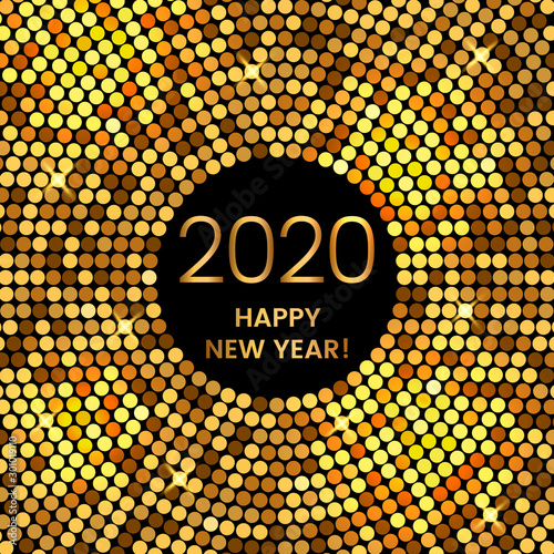 2020 Happy New Year holiday greeting card in modern disco style Canvas Print