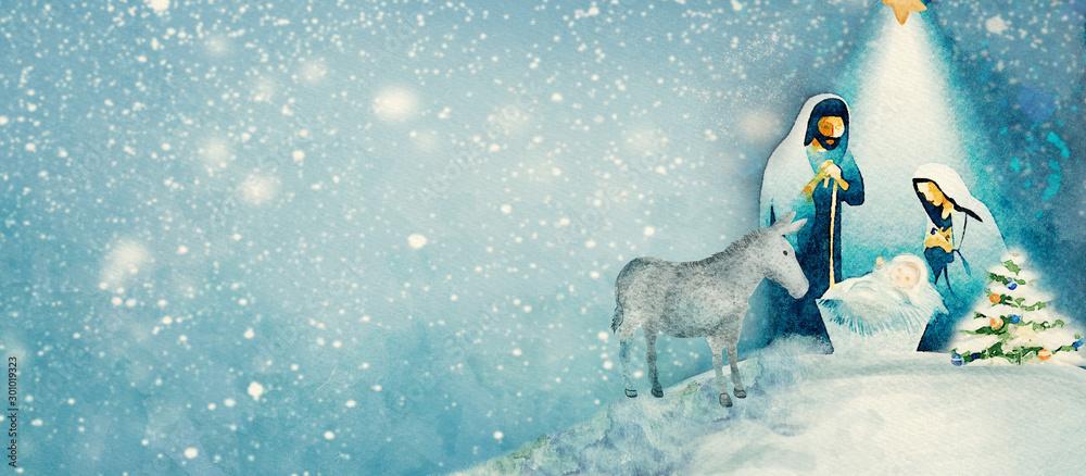 Fototapety, obrazy: Nativity scene. Merry Christmas watercolor background.