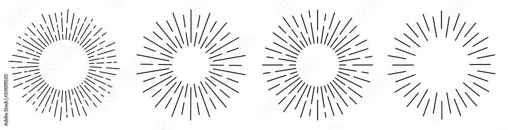 Fototapeta Sun rays or sunshine linear drawing. Vector