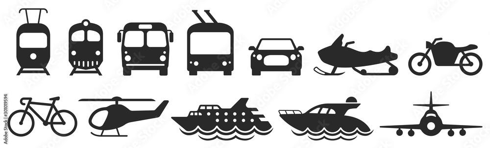 Fotografiet Public transport icons set. Vector
