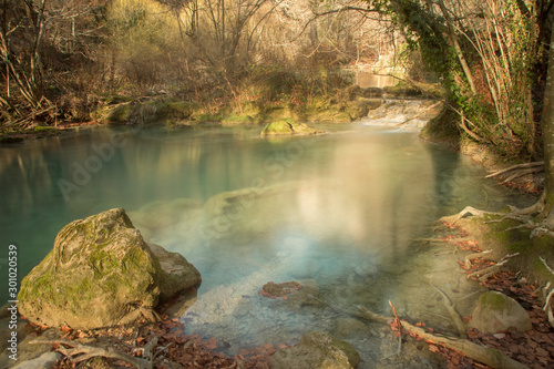 Turquoise water pond in Urederra River, Navarra