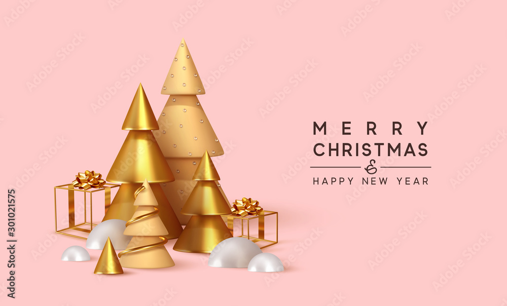 Fototapety, obrazy: Christmas 3D render illustrations. Composition from golden metallic pine, spruce trees. cubic hollow gifts box, white snow drifts. New Year cone shape trees. Xmas background, realistic objects design.