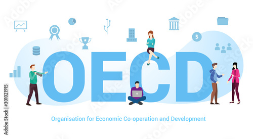 Photo oecd organisation of economic co-operation and development concept with big word