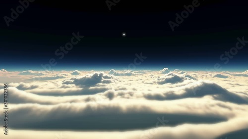 high above clouds sunset 4k - 301022386