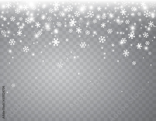 Fotografie, Tablou Snow flakes falling isolated on transparent background