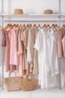 Leinwandbild Motiv Stylish clothes and accessories in show room