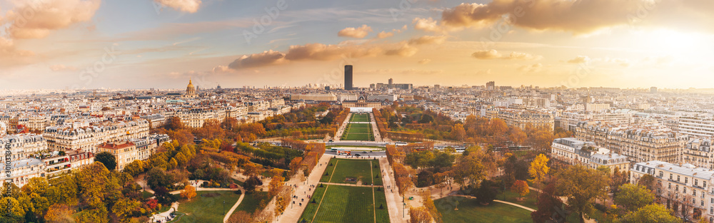 Fototapety, obrazy: Aerial panorama of Paris City in late autumn from Eiffel Tower at sunset.