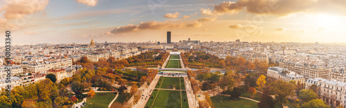 Garden Poster Paris Aerial panorama of Paris City in late autumn from Eiffel Tower at sunset.
