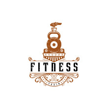 Fitness Train Logo Design In Vintage Style. Illustration Of Train With Barbells