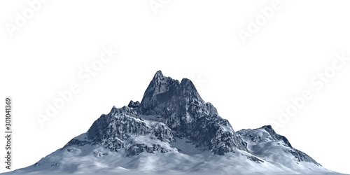 Snowy mountains Isolate on white background 3d illustration - 301041369